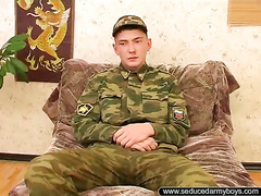 Russian young soldier got home for vacation