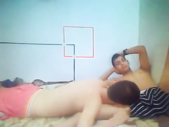 Nasty twinks are demonstrating blowjob scene