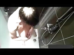 Hidden cam on the seeling in the shower