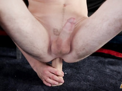 Boy licks the sex toy and fucks it anally