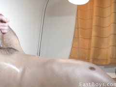 Sissy young twink with cute face gets pleased with handjob