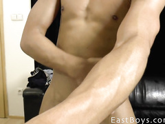 Sexy tight muscled twink poses hot and fondles cock