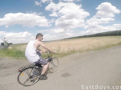 Twink ride a bike and got his dick wanked off by gay guy