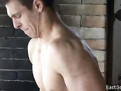 Twink with wonderful young body is doing exercises nude