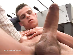 Huge dicked gay is pleasuring handjob from gay friend