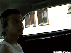 Sweet beauty gay got pleased with handjob in the car