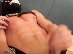 Teen gay gets chained and pleased with handjob