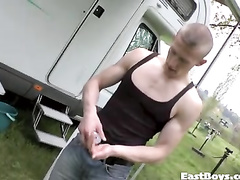 Blond twink is lifting dumbbells to show off sexy muscles