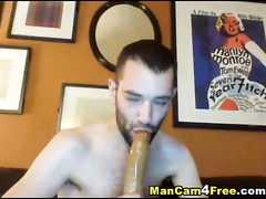 Skinny twink fucks ass with dildo and sucks that sex toy