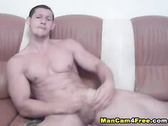 Strong twink is pleasantly fucking ass with dildo