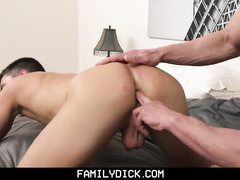 Handsome skinny twink gets passionately fucked by stepdad and his friend