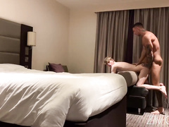 Teen cutie twink enjoys being fucked in the ass by older strong muscled hunk