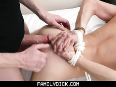 Skinny muscled twink is experiencing hardcore bondage gay anal fuck