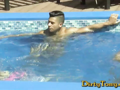 Young horny twinks are having fun in the pool and fucking hard in living room