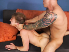 Sexy shaped gay with hot color tattoo enjoys roughly fucking cute twink