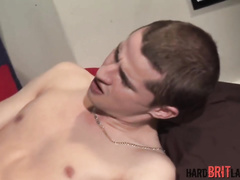 Handsome twink fondles and pulls out boyfriend's big dick to blowjob it