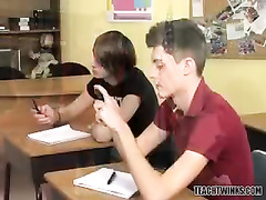 Gay classmates got horny and enjoyed threesome twink sex on teacher's desk