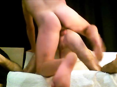 Fags are pleasuring rough bareback gay anal sex on couch