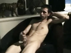 Twink enjoys jerking off his dick before getting pleased with deepthroat blowjob