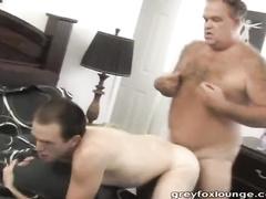 Bear grandpa strokes gay step grandson's asshole with dildo before fucking him hard