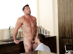 Rocky muscled hunk enjoys blowjob from stepbrother and fucks him